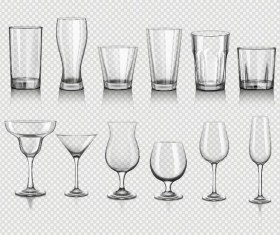 Different glass cup illustration vectors 01