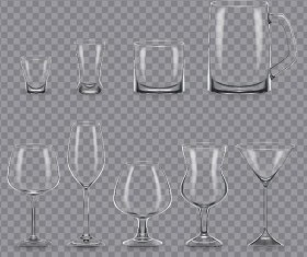 Different glass cup illustration vectors 03