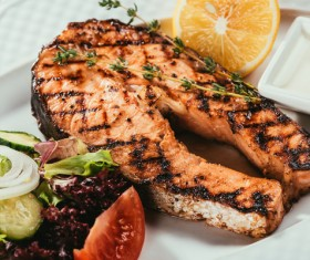 Different practices salmon dishes Stock Photo 01