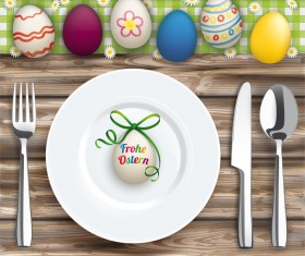 Easter Dinner with Worn Wood and Eggs vector