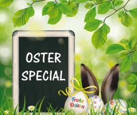 Easter Eggs Blackboard Hare Ears vector