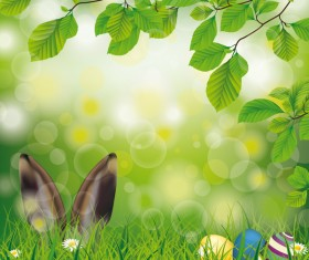 Easter Spring Hare Eggs Beech Twigs Flowers vector