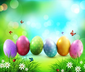 Easter background and grass flower with butterfies vector
