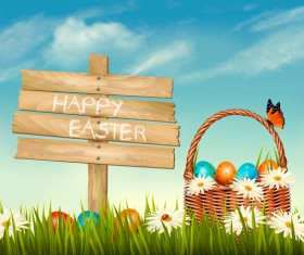 Easter background with basket eggs and wooden sign vector