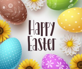 Easter background with easter egg and flower vector 01