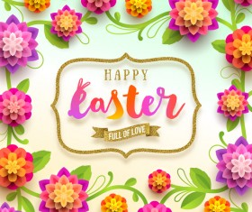 Easter background with paper flower and golden frame vector