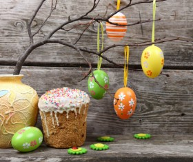 Easter cake and Easter egg Stock Photo 01