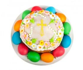 Easter cake and Easter egg Stock Photo 04