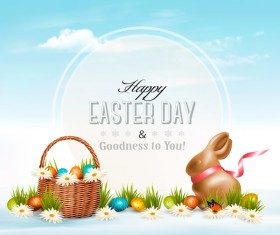 Easter card with egg and grass vector