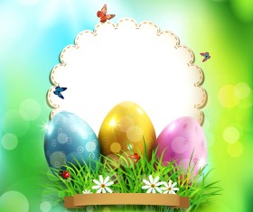 Easter card with egg and green halation background vector