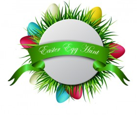 Easter card with green ribbon vector 01