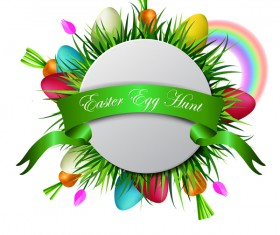 Easter card with green ribbon vector 02