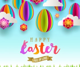 Easter card with paper cloud and egg vector