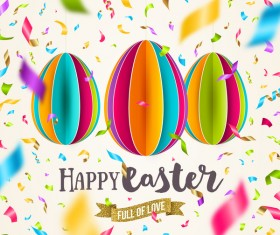 Easter confetti background with origami egg vector