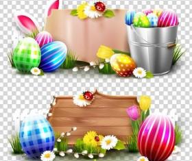 Easter egg with banner illustration vector