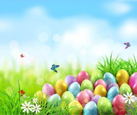 Easter egg with blue sky background vector 01