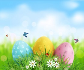 Easter egg with blue sky background vector 02