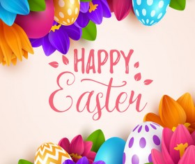 Easter egg with flower background vectors 01