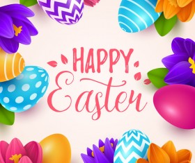 Easter egg with flower background vectors 02