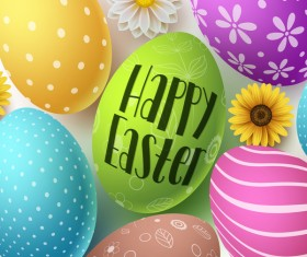 Easter egg with flower vector background