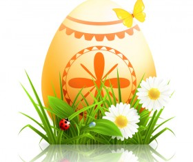 Easter egg with grass and flower vector