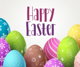 Easter egg with happy easter background vector