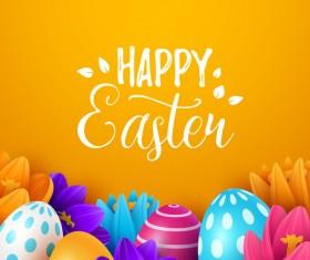 Easter egg with orange background vectors 01