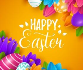 Easter egg with orange background vectors 02