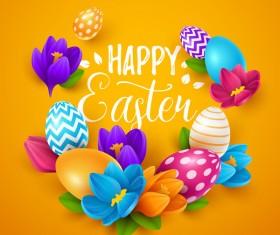 Easter egg with orange background vectors 03
