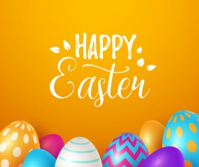 Easter egg with orange background vectors 05