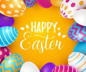 Easter egg with orange background vectors 06