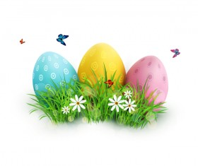 Easter egg with white background vector 01