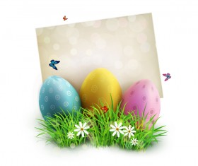 Easter egg with white background vector 02