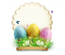 Easter egg with white background vector 03