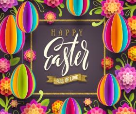 Easter golden frame with dark background vector