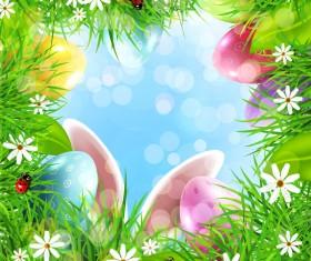 Easter grass frame vector material