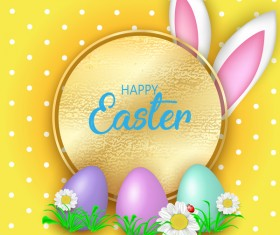 Easter greeting card with yellow vector 01