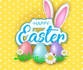 Easter greeting card with yellow vector 02