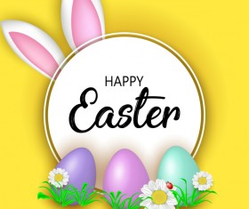 Easter greeting card with yellow vector 03