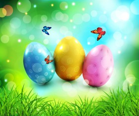 Easter halation background with egg and butterfies vector