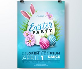 Easter party flyer with poster template vectors 02