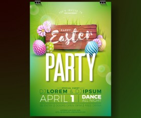 Easter party flyer with poster template vectors 03