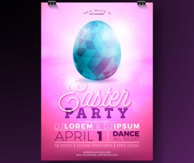 Easter party flyer with poster template vectors 04