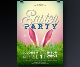 Easter party flyer with poster template vectors 05