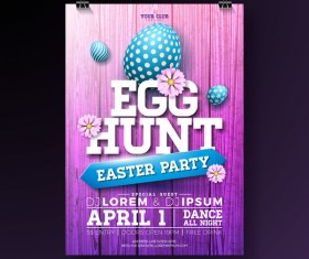 Easter party flyer with poster template vectors 07