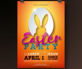 Easter party flyer with poster template vectors 08