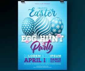 Easter party flyer with poster template vectors 09