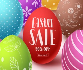 Easter sale background with easter egg vector