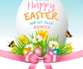 Easter sale background with egg and grass vector