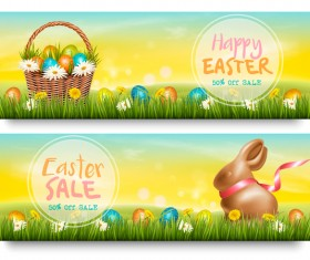 Easter sale discount banners vector 01